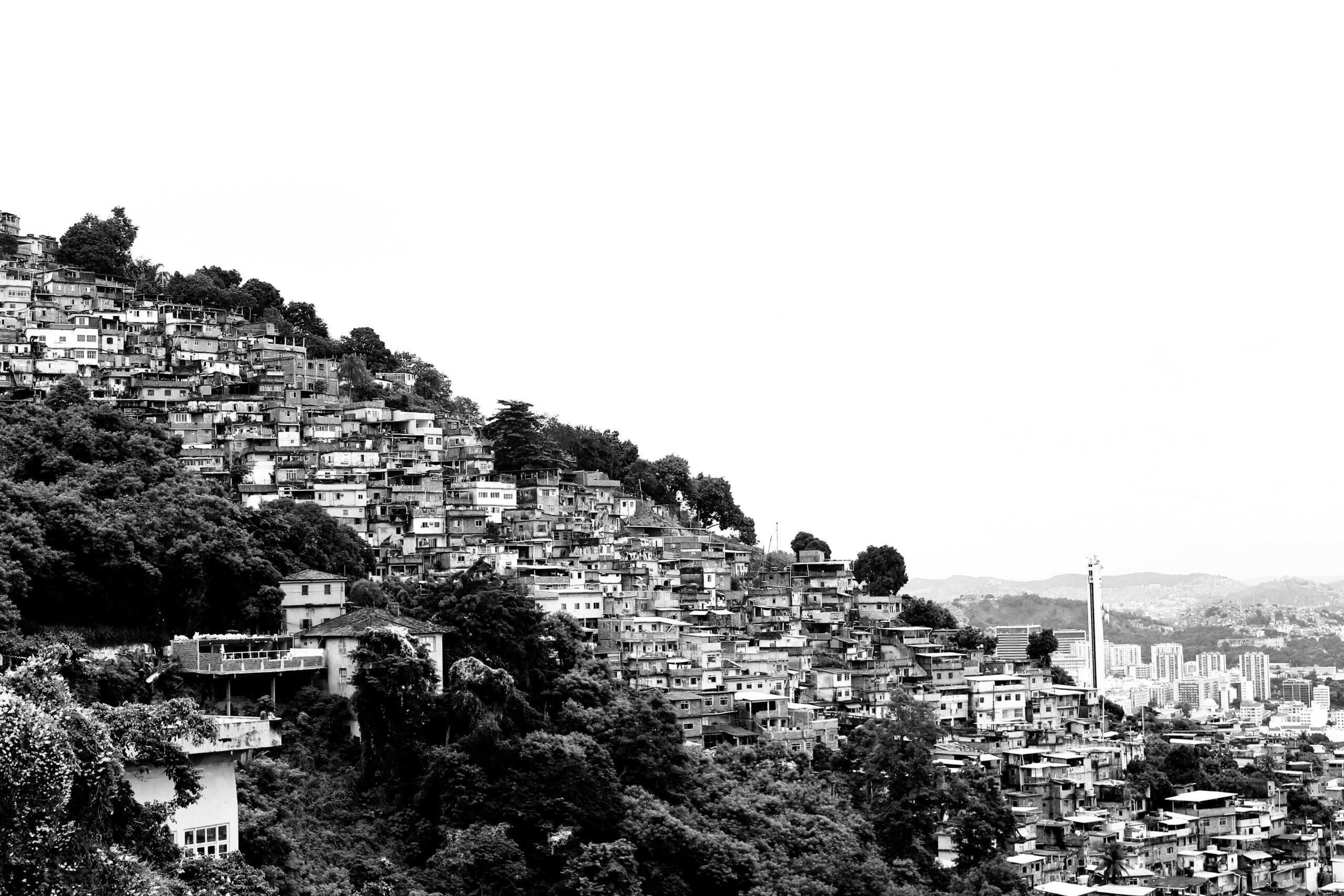 grayscale photo of houses on hill